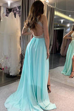 Halter A-Line Beaded Ice Blue Long Prom Dress with Split-Front