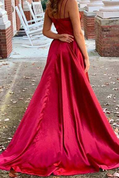 A-Line Long Red Prom Dress with Slit