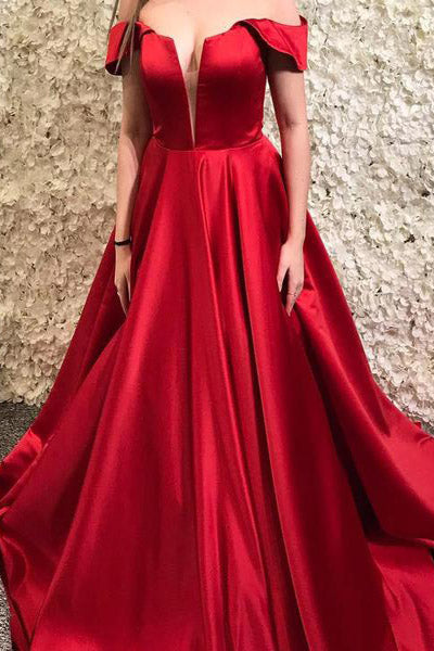 A-Line Off the Shoulder Satin Red Long Prom Dress