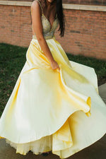 A-Line Spaghetti Straps Beaded Yellow Long Prom Dress