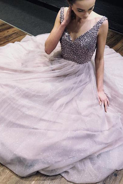 A Line V-Neck Tulle Pink Long Prom Dress with Beaded Top