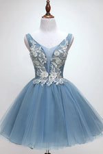 Princess Sky Blue Floral Homecoming Dress