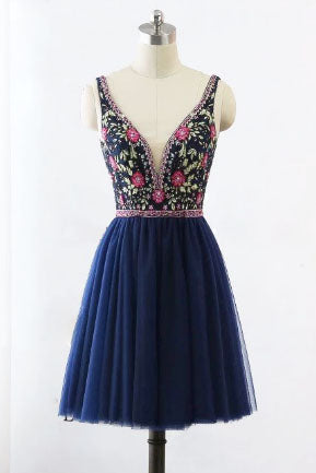 V-Neck Floral Embroidery Navy Blue Short Homecoming Dress