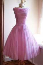 Vintage Cowl Neck Pink Tulle Homecoming Dress with Pleats