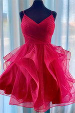 Adorable Red Ruffled Short Homecoming Dress