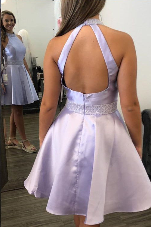 Halter Short Lavender Homecoming Dress with Beading