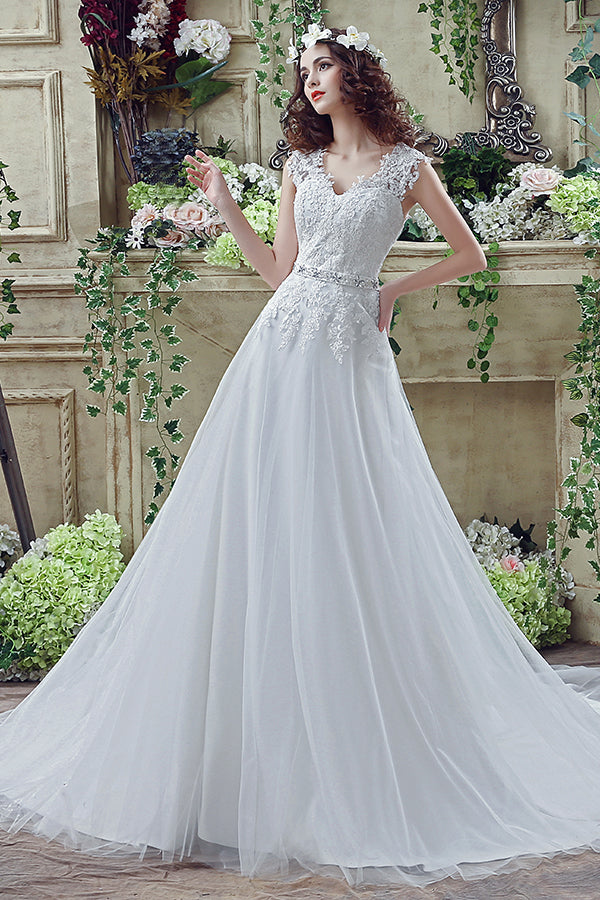 Long V-Neck A-line White Wedding Dress with Appliques