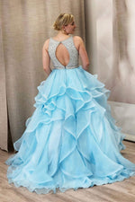 tiered blue prom dress