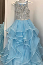 Ruffled Blue Long Prom Dress with Key Hole