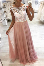 Gorgeous Blush Pink Long Prom Dress with White Lace Top