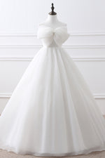 Long Lace-Up A-line Strapless White Wedding Dress with Bowkot