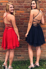 Cross Back Short Chiffon Homecoming Dress
