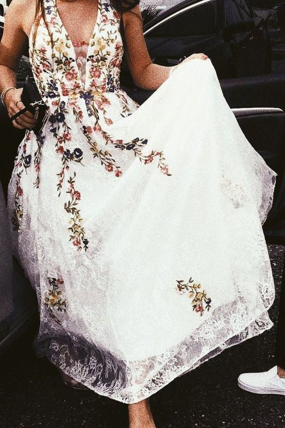 Halter White and Floral Embroidery Long Prom Dress