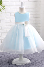 Ball Gown Light Blue Pearl Flower Girl Dress