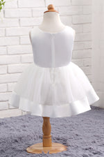 Adorable White Mini Flower Girl Dress