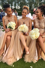 Champagne Appliques Long Bridesmaid Dress with Slit