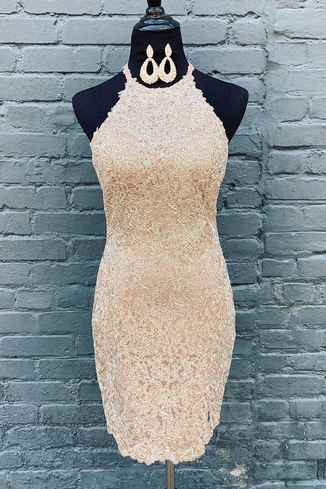 All Over Lace Knee Length Beige Homecoming Dress