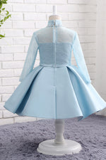 Long Sleeves Light Blue Flower Girl Dress