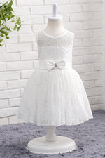 Lace White Flower Girl Dress with Bow