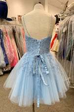 V Neck Short Sky Blue Homecoming Dress