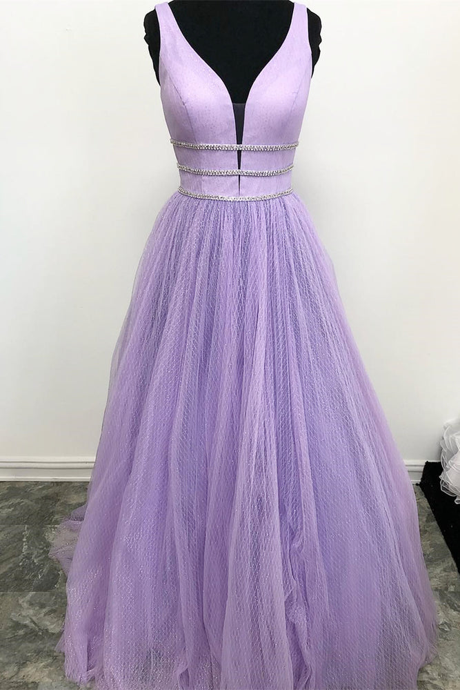 V-Neck Beaded Tulle Lavender Long Prom Dress