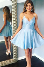 Double Straps Short Sky Blue Party Dress