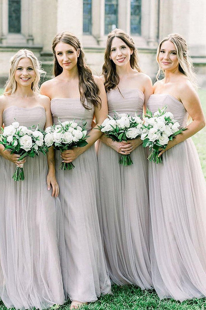 Bohemian Strapless Ruched Light Grey Bridesmaid Dress with Ribbon