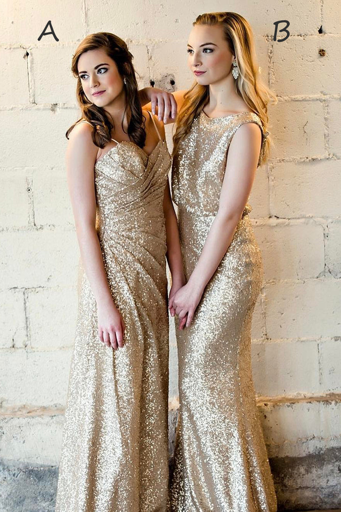 Sparkling Mismatch Gold Sequins Long Bridesmaid Dress