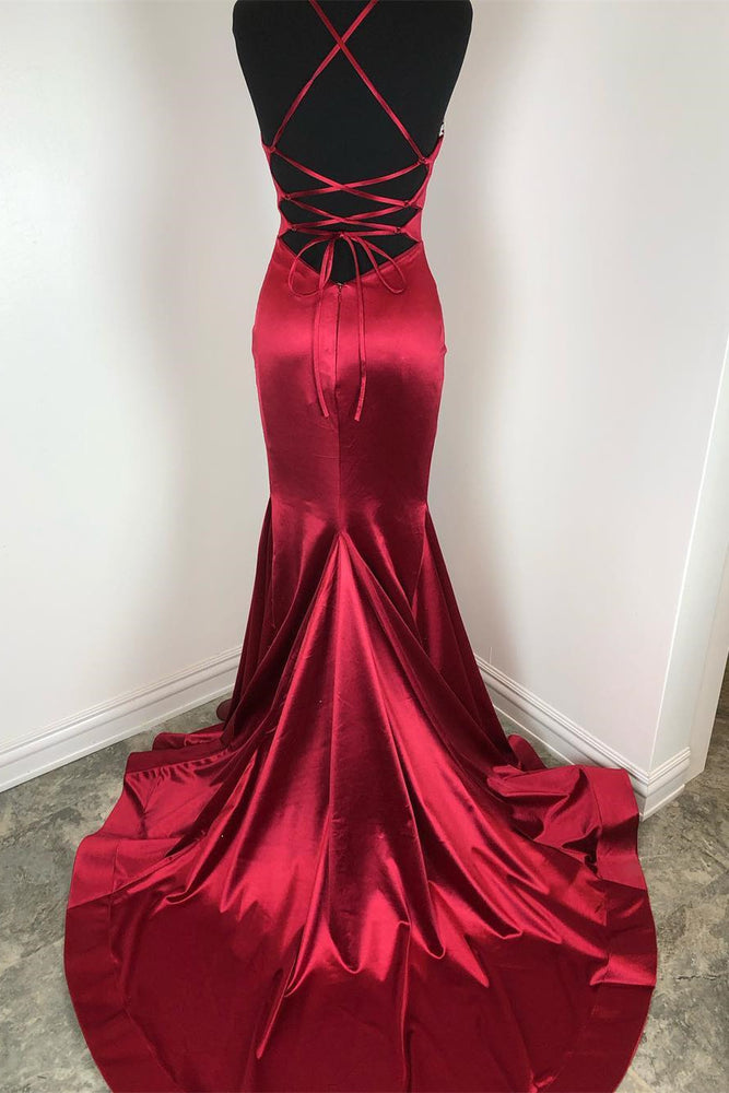 Classic Mermaid Burgundy Formal Dress with Lace-Up Back