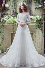 Princess Long Off Shoulder White Wedding Dress