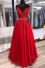 Princess Off the Shoulder Lace Appliques Red Long Formal Dress