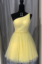 Cute One Shoulder Yellow Homecoming Dress