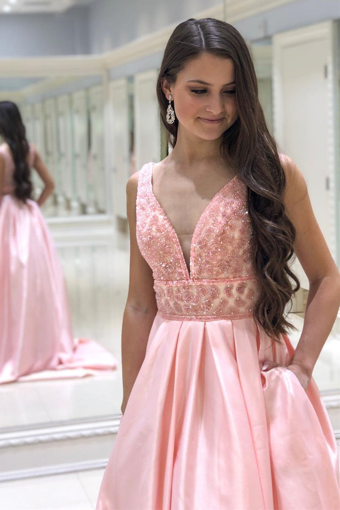 Eleagnt Pink Long Prom Dress with Pockets