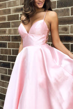 Straps Pink Satin Long Prom Dress with Lace Up Back