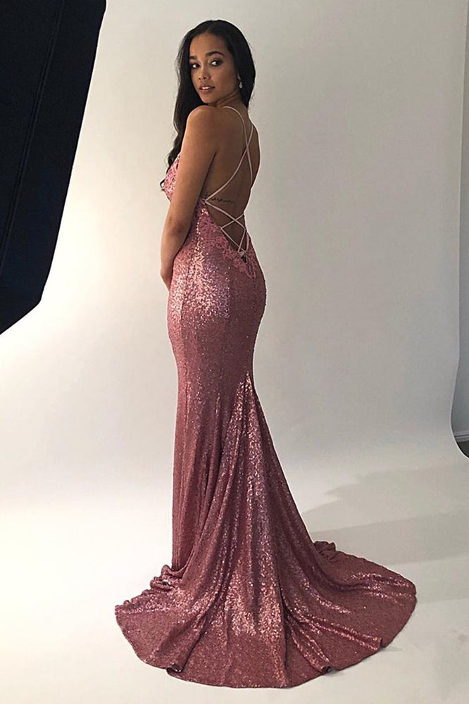 Sparkle Sequins Watermelon Mermaid Long Evening Dress