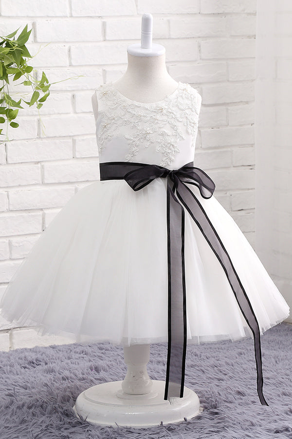 Cute White Flower Girl Dress with Black Bowknot