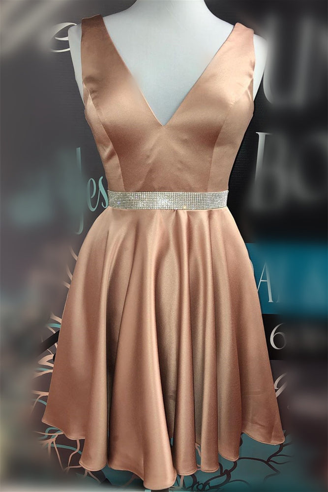 Deep V Pink Satin Homecoming Dress with Beaded Belt