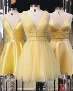 Princess A-line Short Yellow Homecoming Dress