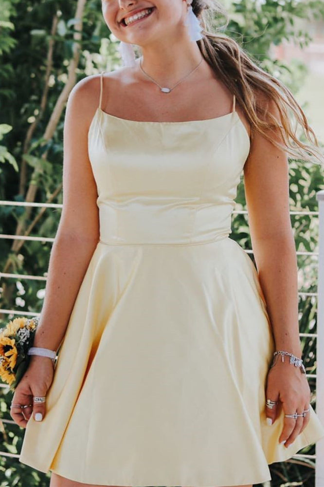Simple Straps Short Homecoming Dress