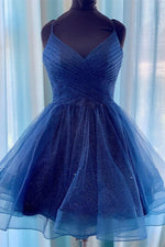 Cute Sparkle Navy Blue Homecoming Dress