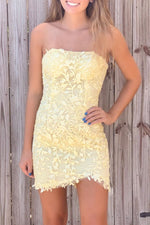 Strapless White Lace Appliques Homecoming Dress