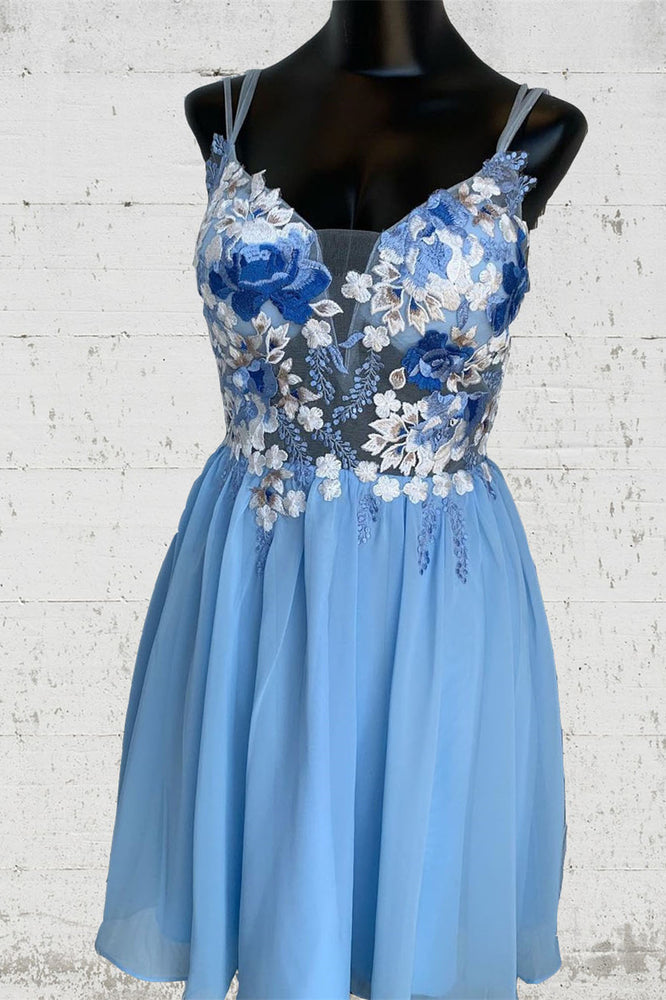 Straps Blue Short Homecoming Dress with Floral Appliques
