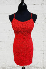 Tight Red Lace Short Homecoming Dress