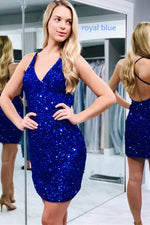 Criss Cross Navy Blue Sequins Homeocming Dress