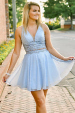 Two Piece Short Light Sky Blue Homecoming Dress