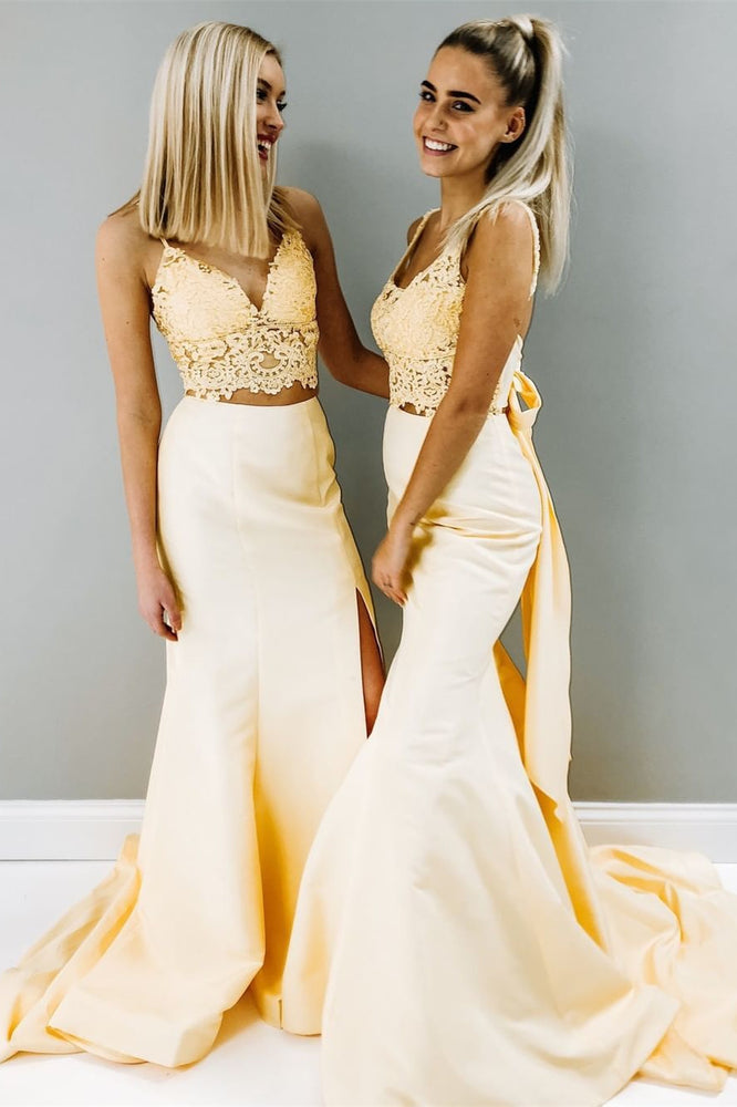 Two Piece Mermaid Yellow Prom Dress with Slit