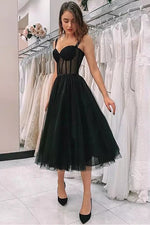 Sweetheart Straps Black Tea Length Prom Dress