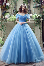 Princess Blue Long Cinderella Dress Ball Gown