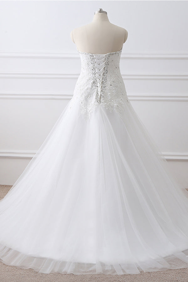 Long Sweetheart Beaded A-line White Wedding Dress with Lace