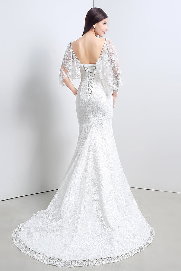 Detachable Long Mermaid Lace Ivory Wedding Dress